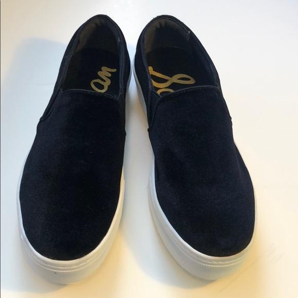 """019074be00e90c Sam Edelman """"Lacey"""" black velvet tennis shoes"""